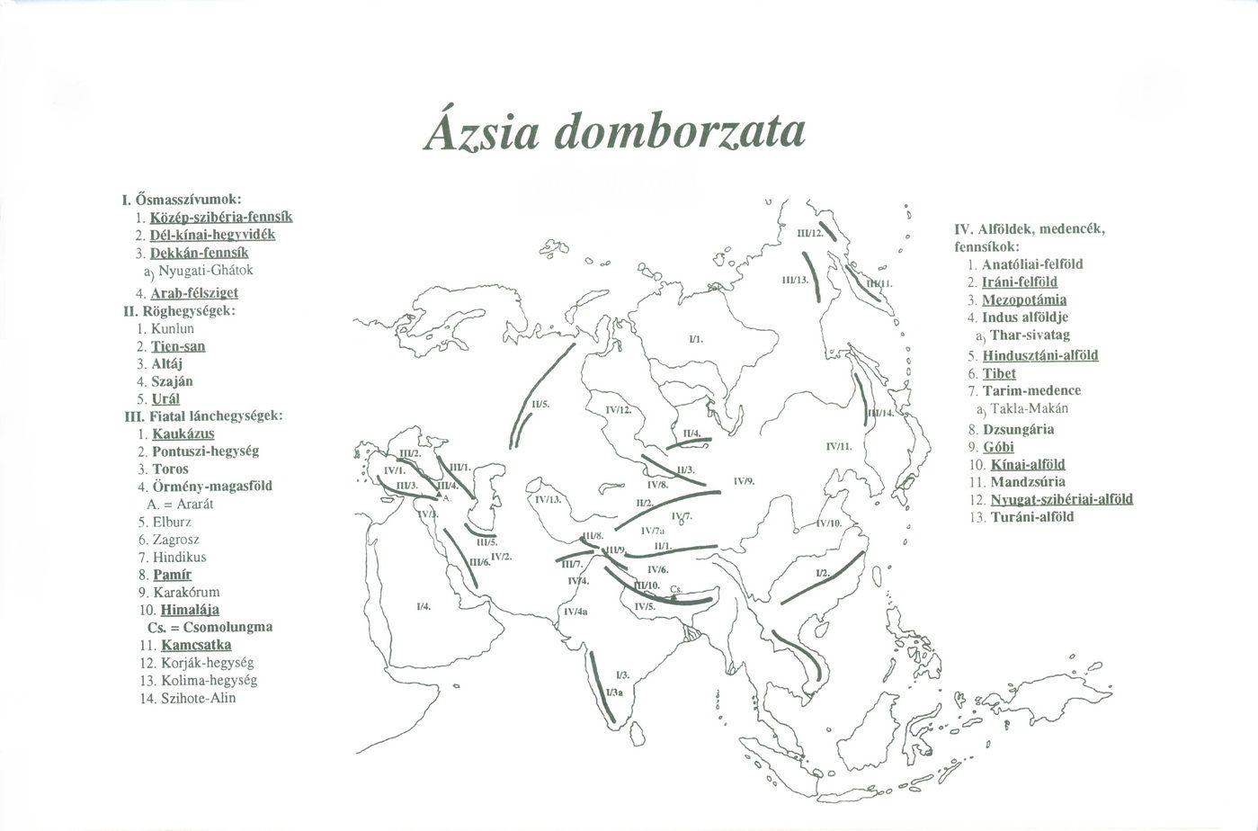 ázsia térkép domborzati 7. osztály ázsia térkép domborzati